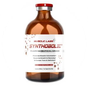 "1 white and red bottle of Muscle Labs USA branded supplements containing 100 ml of legal steroids labeled as ""Synthobolic"""